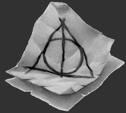 סמל אוצרות המוות, כפי שהוא מופיע בספר השביעי